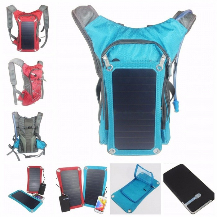 New Sport Cycling Water Bag Outdoor Solar Panel USB Charger Bicycle Hydration Backpack Knapsack for Moible Phone Camping Travel  Other/Model 2 Black