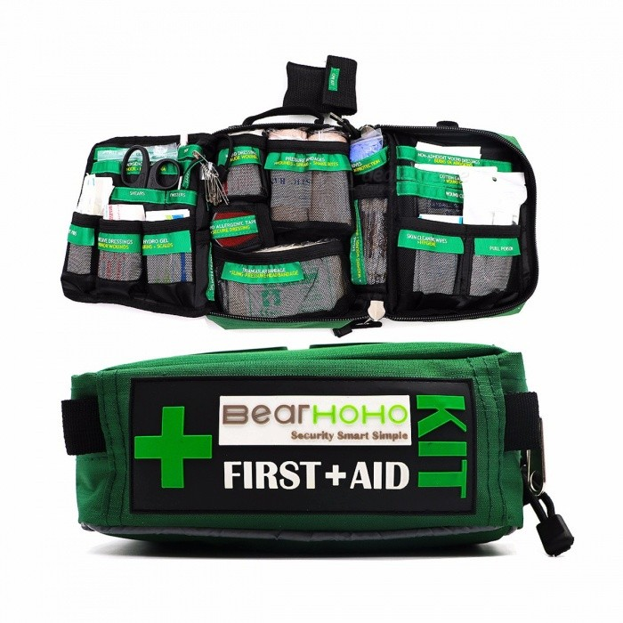 BearHoHo 165-Piece Handy First Aid Kit Bag Lightweight Emergency Medical Rescue Outdoors Car Luggage School Hiking Survival Kits WITH ITEMSFirst Aid<br>Description<br><br><br><br><br>Brand Name: BearHoHo<br><br><br><br><br><br><br><br><br><br><br><br>INTELLIGENT: This kit educates the user and reduces stress levels during emergencies. Every component is labelled, telling you what the item is, what it should be used for<br><br>DURABLE STRONG AND DESIGNED TO LAST. Made from 600D Polyester this first aid kit come in the strongest bag in its price class<br><br>COMPACT, LIGHT AND PORTABLE. The kit comes with 165 essential basic lifesaving items while weighing only 1.8 pound. It measures 8.7 x 6.7x 3.6 inches and can fit into your cars glove box. The compatible straps on the back allow the user to wear it on other bags or your belt. Take it with you on road trips, hiking backpacking, camping, traveling or keep your own safe at home, school or the workplace. Water resistant bag and water proof inner laminate bags protect all items against moisture<br><br>IETMS INCLUDE<br>pull poison (1)<br>Adhesive Dressings (60)<br>Triangular Bandage (2) 96*96*136CM<br>First Aid Booklet (1)<br>Pressure Bandages (2) 10*450CM<br>Hypo Allergenic Tape (1) 2.5*180CM<br>Fever Scan Strip (1)<br>Notepad (1)<br>Pen (1)<br>Tweezers (1) 12CM<br>Shears (1) 14.5CM<br>Eye Pad (2)<br>Skin Cleaning Wipes (4 ,1 IN CPR)<br>Non-Adherent Wound Dressings (4) 7.5*7.5CM<br>Non-Adherent Wound Dressings (5) 5*5CM<br>Emergency Blanket (1) 160*210CM<br>Hydro Gel (4) 3.5g<br>Gloves (3 pairs ,1 pair in CPR)<br>Plastic bag (10 mixed size )<br>Safety Pins (10)<br>Cotton Gauze Swabs (8)7.5*7.5CM<br>Cotton Gauze Swabs (5) 5*5CM<br>Wound Closures (1)<br>Splinter Probes (5)<br>Iodine Cotton Stick (25)<br>Resuscitation face mask (1 in CPR)<br>Wound Dressings (1)<br>
