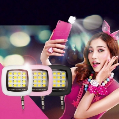 Mini Portable Rechargeable 16-LED Selfie Flash LED Camera Lamp Light for IPHONE 6 6s Samsung HTC LG Xiaomi Mobile Phones White