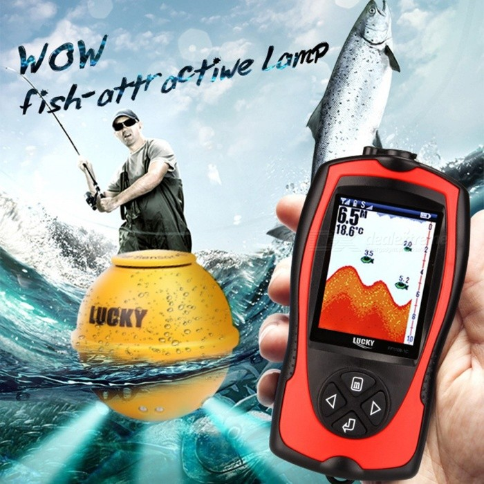 LUCKY FF1108-1CWLA Rechargeable Wireless Remote Sonar Sensor 45m Water Depth High Definition LCD Fish Finder FF1108 1CWLADescription<br><br><br><br><br>Brand Name: LUCKYLAKER<br><br><br>Language: English<br><br><br><br><br>Power Source: DC 10V-18V<br><br><br>Detecting Range: 0.6-183 Meter<br><br><br><br><br>Power Input: DC 10-18V<br><br><br>Sonar Frequency: Wireless: 125Khz<br><br><br><br><br><br><br><br><br><br><br><br>The power adapter is EUROPEAN, if English or Ameriacan power adpater is needed, please leave a message ,thanks.<br><br><br>&amp;nbsp;<br><br><br>PRODUCT SPECIFICATION:&amp;nbsp;<br><br>1) Display:2.4inch TFT color LCD, pixels:240Vx960H&amp;nbsp; <br><br><br>2)Back lighting: On/off White LED <br><br><br>3) Depth Capability: &amp;nbsp;147feet(45m) <br><br><br>4) Sonar Coverage: 90 degrees beam angle in 125Khz <br><br><br>5)&amp;nbsp;Power: 3.7V rechargeable lithium batteries <br><br><br>6) Waterproof design: level-4(spray-water-proof) <br><br><br>7) Water depth,water temperature, fish location, bottom contour &amp;nbsp;can be constantly obtained from the water&amp;nbsp; <br><br><br>8) User selectable sensitivityzoom,units,depth range,shallow alarm,fish icon,fish alarm,and chart speed setting &amp;nbsp; &amp;nbsp; <br><br><br>9) Built in memory stores sonar setting when the fish finder is turned off <br><br><br>10) Operational Temperature:&amp;nbsp; 14°F to 122°F(-10°C-50°C)<br>