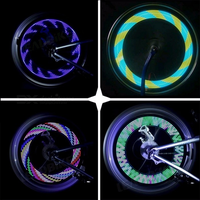 DONSUNG Colorful Bicycle Bike Light Cycling Wheel Spoke Light 14-LED 30 Patterns Waterproof Bike Light Accessories BlackBike Lights<br>Description<br><br><br><br><br>Power Supply: Battery<br><br><br>Brand Name: DONSUNG<br><br><br><br><br>Mounting Placement: Wheel Spokes<br><br><br><br><br><br><br><br><br><br>Model Number: BL01 <br><br><br>Battery: 1 x AAA battery (not include) <br><br><br>patterns: 30 kinds of changes in patterns <br><br><br><br>SPECIFICATION<br><br><br><br><br>The product is consist of 14 pcs colorful LEDs.<br><br><br><br><br>It can flash 30 different kinds of patterns ,patterns will be changed every 4 seconds.<br><br><br><br><br>Pattern is clear and completely when speed up to 20KMs/hour.<br><br><br><br><br>Equipped with lighting sensor and movement sensor flash only at night and action tegother,save power designing.<br><br><br><br><br>BATTERY&amp;nbsp;<br><br><br><br><br>Operated by battery 1X AAA.<br><br><br><br><br>Could be maximed to 12 hours when it work.<br>