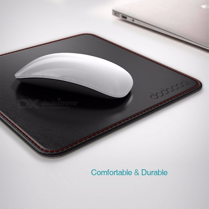 Dodocool 2-in-1 Non-slip Mouse Pad PU Leather Surface Gamer Carrying Case Base Stitched Edges Laptop Mouse Pad for Office Home BlackMouse Pads<br>Description<br><br><br><br><br>Size: M<br><br><br>Package: Yes<br><br><br><br><br>Material: Leather<br><br><br>Products Status: Stock<br><br><br><br><br>Brand Name: dodocool<br><br><br>Style: Other<br><br><br><br><br><br><br><br><br><br><br>Overviews<br>dodocool Mouse Pad provides your mouse <br>with a flat and smooth PU leather surface ensuring greater accuracy, <br>control, and faster response and a non-slip base to prevent itself from <br>moving. It also can be used as an open pocket for your mouse and other <br>small items.<br><br>Features<br>Flat &amp;amp; Smooth Surface<br>The high quality top surface is made of flat and smooth PU leather, <br>ensuring the mouse moves smoothly with optimal glide. PU leather is <br>water and stain resistant and easy to clean.<br>Non-slip Base<br>Soft non-slip base keeps the mouse pad securely in place while prevent it from scratching any surface it is placed on.<br>Delicate Construction<br>This mouse pad is carefully built with rounded corners and smooth <br>edging to improve your safety and comfort. Stitched frame prevents <br>fraying and increases an open pocket that can put in your mouse or other<br> small items.<br>Slim &amp;amp; Portable<br>This square <br>mouse pad measures 190(W) x 190(H) x 1.6(D) mm, weighing 56 g. Compact <br>in size and easy to carry in your laptop bag.<br><br>Specifications<br>Brand: dodocool<br>Material: PU leather<br>Color: Black<br>Warranty: 12-month warranty<br>Folding size: Approx. 7.48 * 7.48 * 0.06 in / 190 * 190 * 1.6 mm (W * H * T)<br>Item weight: Approx. 1.97oz / 56g<br>Package size: Approx. 8.19 * 7.87 * 0.16 in / 208 * 200 * 4 mm (W * H * T)<br>Package weight: Approx. 3.07oz / 87g<br><br>Package includes<br>1 * dodocool Mouse Pad<br>