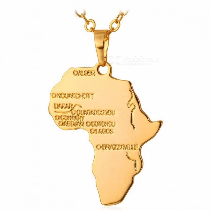U7 Hiphop African Map Style Necklace Gold Color Pendant Chain Ethiopian Jewelry Trendy Gift for Men and Women Black Gun Plated
