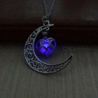 IPARAM Premium Silver Plated Moon Glowing Necklace, Green Stone Charm Jewelry, Perfect Halloween Gift  Sky Blue