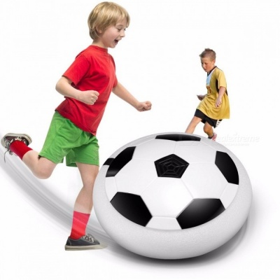 LED Light Flashing Air Power Soccer Hover Ball, Disc Indoor Football Toy, Multi-surface Hovering and Gliding Toy for Kids White