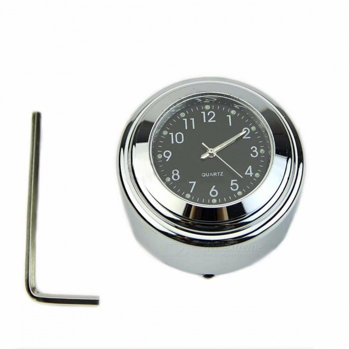 QILEJVS Portable Mini Waterproof 7/8 1 Motorcycle Handlebar Dial Clock, Temp Thermometer for Harley Glide BlackOthers<br>Description<br><br><br><br><br>Item Type: Decals &amp;amp; Stickers<br><br><br>Brand Name: QILEJVS<br><br><br><br><br><br><br><br><br><br><br><br>Description:<br><br><br>&amp;nbsp;<br><br><br><br>7/8 1 Motorcycle Handlebar Chrome Black Dial Clock <br><br><br>Color: Chrome Mount &amp;amp; Black Surface <br><br><br>Material: High Quality Billet Aluminum <br><br><br>100% Waterproof, Shock resistant, Grow in dark. <br><br><br>Fit most of the Harley motorcycle/Cruiser/Choppe/Custom with 7/8 or 1 handlebar <br><br><br>Size(Dia.x H): 4.5 x 3.0cm/1.77x1.18(approx)<br><br>Assembly Instruction for Your Reference <br><br><br>Put the mount onto the 1 handlebar and use the small wrench to tight the set screw onto the handlebar. <br><br><br>For 7/8 handlebar, put the rubber <br>pad into the mount slot first and then mount onto 7/8 handlebar, use <br>the small wrench to tight the set screw onto the handlebar. <br><br><br>Remove the pull tab from the clock crown shaft. <br><br><br>Turn the crown to adjust the time of the clock. <br><br><br>Push the crown into place to make sure the clock is running. <br><br><br>Press-fit the clock with rubber gasket into the mount in place. <br><br><br>Note: Due to the <br>difference between different monitors, the picture may not reflect&amp;nbsp; the <br>actual color&amp;nbsp;of the item. Please understand, Thank you <br><br><br><br>&amp;nbsp;<br><br><br>Package including:<br><br><br><br>1 x Motorcycle Handlebar Clock<br>