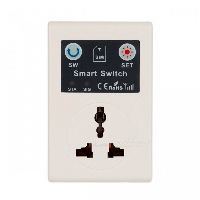 EU 220V Phone RC Remote Wireless Control Smart Switch, GSM Socket Power Plug for Home Household Appliance whitePlugs &amp; Sockets<br>Description<br><br><br><br><br>Application: Residential / General-Purpose<br><br><br>Shape: Square<br><br><br><br><br>Grounding: Non-Grounding<br><br><br>Brand Name: ACEHE<br><br><br><br><br>Features: Remote Control<br><br><br><br><br><br><br><br><br><br><br><br><br>Features:<br><br><br><br>New Cellphone Phone PDA GSM RC Remote Control Socket Power Smart Switch <br><br><br>Brand new and high quality. <br><br><br>You can control the GSM switch through rings or short messages. <br><br><br>It can control water heaters, electric motors, electric doors, lights, rice cookers and other appliances. <br><br><br>Whether youre on the road or in the office, easy and low-cost to control remote appliances:. <br><br><br>Wireless remote water pump. <br><br><br>Control the rice cooker in the office. <br><br><br>Wireless control lights, fans. <br><br><br>Wireless control power, audio and other equipment. <br><br><br>Feeding the family pet via the GSM switch. <br><br><br>Other household or industrial control applications. <br><br><br><br>&amp;nbsp;<br><br><br>Specification:<br><br><br><br>Rated voltage: 110V-220V <br><br><br>Rated current: 10A <br><br><br>Rated frequency: 50Hz <br><br><br>Rated Power: 2200W <br><br><br>Inherent power ? 0.2W <br><br><br>Original box: Yes <br><br><br>Item size: 99*59*32mm <br><br><br>Package size: 106*71*64mm <br><br><br>Net weight: 168g <br><br><br>Package weight: 177g <br><br><br><br>&amp;nbsp;<br><br><br>Packing Content:<br><br><br><br>1 x GSM switch &amp;nbsp;(EU plug) <br><br><br>1 x user manual&amp;nbsp;<br>