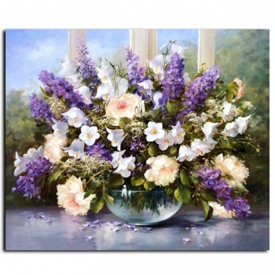 DRAWJOY G053 Modern Flower Framed Picture Oil Painting By Numbers for Living Room Home Decor, Hand Unique Gift Wall Art no frame 50x65cm