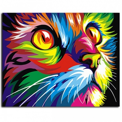 GX4228 Colorful Animals Picture Abstract Framed Oil Paint DIY Coloring Painting By Numbers on Canvas for Home Decoration framed  40x50cm