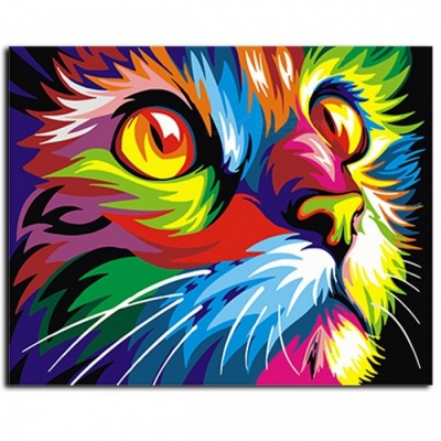 GX4228 Colorful Animals Picture Abstract Framed Oil Paint DIY Coloring Painting By Numbers on Canvas for Home Decoration no frame 40x50cm