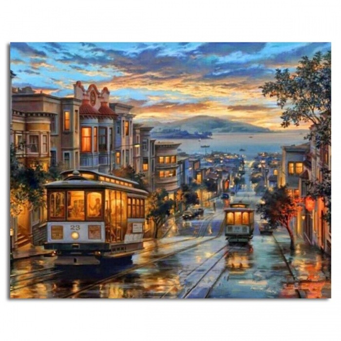 Buy GX8322 Europe Landscape Frameless Pictures DIY Painting By Numbers Wall Art Acrylic Painting on Canvas and Painted Home Decor 40*50 cm with Litecoins with Free Shipping on Gipsybee.com