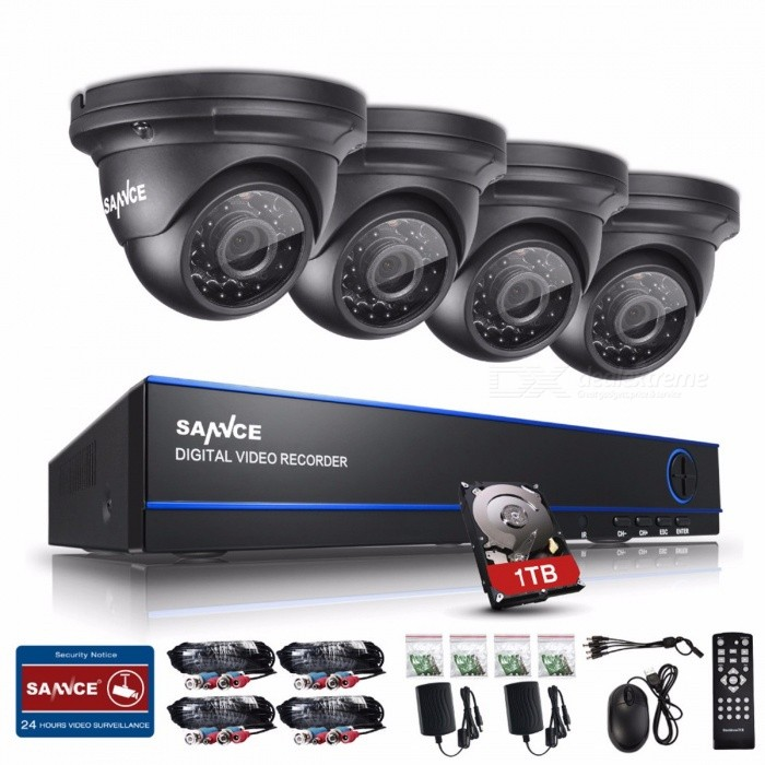 SANNCE 2.0MP 1080P HD 8 Channel DVR AHD Surveillance Kit w/ 4Pcs 3000TVL Outdoor Home Security Cameras, CCTV System with 1TB HDD 1TDVR Cards &amp; Systems<br>Description<br><br><br><br><br>Brand Name: SANNCE<br><br><br>Cable Length: 20m<br><br><br><br><br>PCS of Camera: 4PCS<br><br><br><br><br><br><br><br><br><br><br><br><br>Product Description:<br><br><br>This<br> is a SANNCE new advanced 1080P AHD (Analog High Definition) <br>surveillance system, which is specially designed for simplified home and<br> business security. SANNCE AHD security system uses the latest AHD <br>technology to provide you with a detailed view, whether you are in a <br>pitch-black yard or a brightly lit room.And remote access of the <br>monitoring video is never so easy just by scanning the QR-code and <br>install the free APP on your smart phone.<br><br><br><br><br><br>Features:<br>* AHD-H 1080P DVR for stunning and crisp images<br>* 2 megapixels high performance CMOS lens<br>* 8-channel video input to keep your house under control<br>* 100ft night vision for crystal clear night vision<br>* Remote access on smart phone or table<br>* HDMI high definition output available<br>* QR-code scanning for free controlling and viewing APP<br>* Powerful backup mode and multi-channel playback<br>* Intelligent motion detection and email alert<br>* Auto IR-Cut for incredible day and night vision<br>* IP66 weatherproof camera, suitable for outdoor use<br>* Support multiple network service<br>* Advanced P2P cloud service makes easier remote access<br>