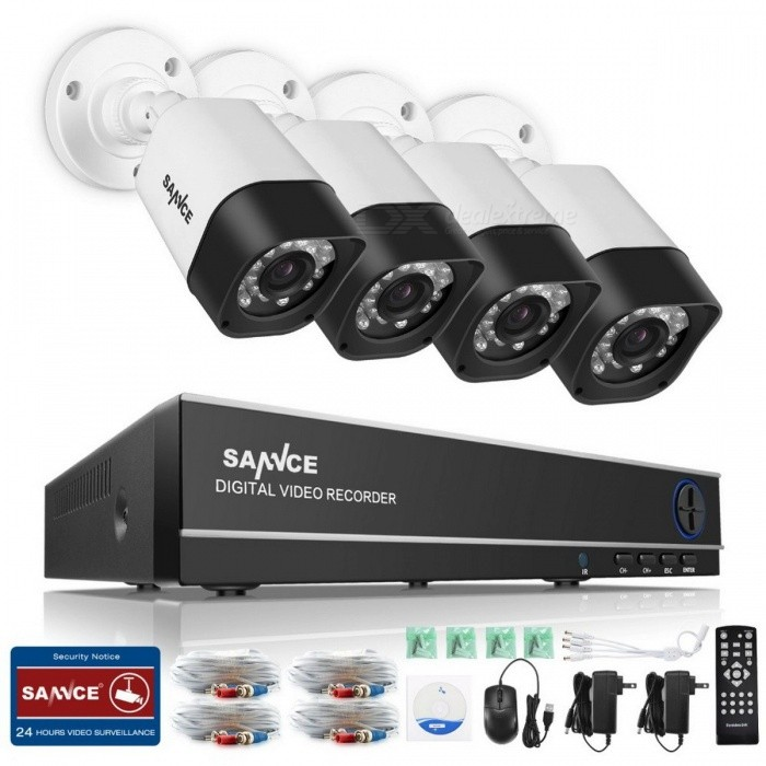 SANNCE 5-in-1 8CH AHD Security DVR System, HDMI 1280*720 1200TVL AHD Weatherproof Outdoor CCTV Camera 1.0MP AHD Surveillance Kit Black + WhiteDVR Cards &amp; Systems<br>Description<br><br><br><br><br>Brand Name: SANNCE<br><br><br>Cable Length: 20m<br><br><br><br><br>PCS of Camera: 4PCS<br><br><br><br><br><br><br><br><br><br><br><br><br>Smart Motion Detection<br>There<br> must be some vital areas in your house that you want to keep closer <br>eyes on, for instance, the front door, drive way or the side window. <br>This system, with smart motion detection function, allows you to <br>customize several motion detection areas.while any of this area is <br>triggered by unexpected movements, youll get informed timely.<br><br><br>Around-the-Clock Protection<br>Keeping<br> a close eye on things at night is as important as it is in the day <br>time. A video monitoring system with spectacular night vision can not <br>only help you get 24/7 reliable surveillance video but also keep your <br>house from burglars. Thanks to the premium infrared LEDs and smart <br>IR-cut filter, you can enjoy a sound sleep and worry less at night from <br>now on.<br><br><br>Durable Weatherproof Camera<br>All<br> the cameras are designed to be weatherproof and dustproof to make sure <br>theyre durable enough in both indoor and outdoor applications. No <br>matter it is raining, snowing, sleeting or windy, stay confident <br>all-year-round by knowing that the cameras will always be there with you<br> when you need them most.<br><br><br>Whenever unexpected movements is <br>detected by the cameras, you will get immediate email alert making sure <br>youre the first one to get informed when things happen. With this email<br> alert function, you dont need to check the phones every now and then <br>to make sure everything goes fine, but youre still in the know if <br>emergency does occur.<br><br><br>On the back panel of the digital video<br> recorder, youll get two video output options: VGA and HDMI. Choose <br>either of them to connectwith your HD monitor or TV, and enjoy the <br>smooth and stunning monitoring videos.And get complete peace of mind <br>knowing the entire house is under reliable monitoring that no <br>suspicious-looking fellow is wandering around in the back yard.<br><br><br>For easier and smarter home and business security<br>This<br> professional video security unit is especially designed for home and <br>small business. With 720P better video quality, you can get finer detail<br> for accurate identification of people, objects and vehicles. With the <br>reliable monitoring system, what you care most will be under 24/7 <br>protection.<br>* HD Video Recording<br>* Easy Mobile Viewing<br>* Motion-Activated Alarm<br>* Day&amp;amp;Night Monitoring<br>* Indoor&amp;amp; Outdoor Use<br>&amp;nbsp;<br>Whats included?<br>Including most accessories for easy Do-It-Yourself installation.<br>* 8-channel&amp;nbsp;5in1 digital video recorder<br>*&amp;nbsp;4 pcs&amp;nbsp;&amp;nbsp;720P indoor&amp;amp; outdoor cameras<br>* &amp;nbsp;coaxial cables<br>* Mounting screw kit<br>* Deterrent wall sticker<br>* Power adapter &amp;amp; 2*2-to-1 splitter<br>* Mouse and remote control<br>* User manual&amp;amp; software CD<br>