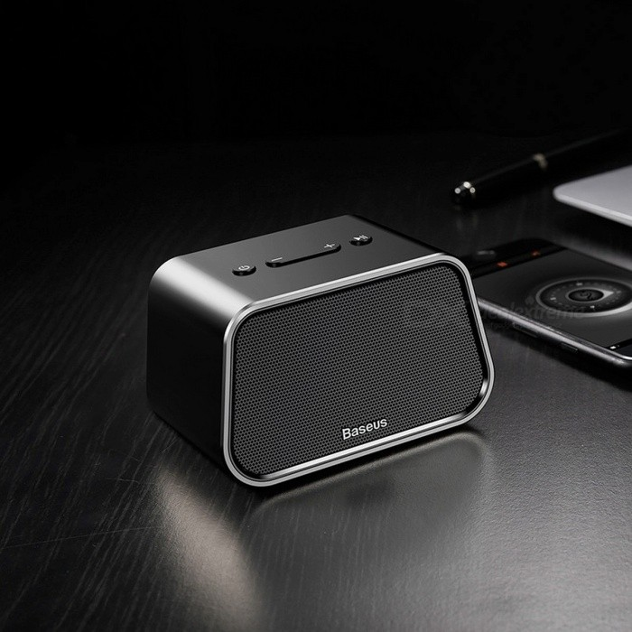 Baseus Mini Portable Outdoor Bluetooth Wireless Speaker 3D Stereo Music MP3 Surround Player Stylish and Portable BLACKSpeakers &amp; Microphone<br>Description<br><br><br><br><br>Playback Function: FLAC,MP3,APE,Other<br><br><br>Support APP: No<br><br><br><br><br>Support Apt-x: No<br><br><br>Brand Name: BASEUS<br><br><br><br><br>Remote Control: No<br><br><br>Intelligent Personal Assistant: None<br><br><br><br><br>Support Memory Card: Yes<br><br><br>Frequency Range: 80Hz-20KHz<br><br><br><br><br>Audio Crossover: Full-Range<br><br><br>Material: Aluminum<br><br><br><br><br>Display Screen: No<br><br><br>Communication: Bluetooth,AUX<br><br><br><br><br>Speaker Type: Portable<br><br><br>Feature: Phone Function,None<br><br><br><br><br>Channels: 1<br><br><br>Display Screen: No<br><br><br><br><br>Voice Control: No<br><br><br>Battery: Yes<br><br><br><br><br>Waterproof: No<br><br><br>Number of Loudspeaker Enclosure: 1<br><br><br><br><br>Output Power: 3W<br><br><br>Cabinet Material: Metal<br><br><br><br><br>Power Source: Battery<br><br><br>PMPO: 3W<br><br><br><br><br>Built-in Microphone: Yes<br><br><br>Wi-Fi Music: Other<br>