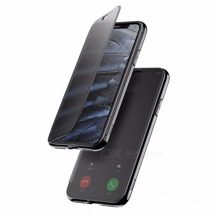 Baseus Luxury Flip Case Touchable Tempered Glass Cover + TPU Back Case Full Coverage Phone Cover for IPHONE X TPU and 9H Glass/Red