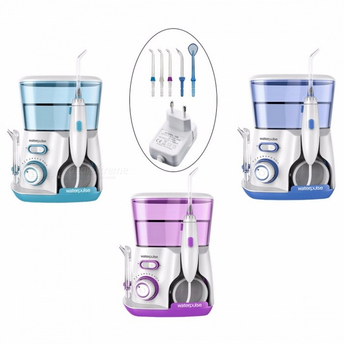 Waterpulse V300 Dental Flosser Pro Oral Irrigator, 800ML Oral Hygiene Dental Floss for Family Daily Oral Care  BlueOral Tooth Care<br>Description<br><br><br><br><br>Item Type: Dental Flosser<br><br><br>Brand Name: waterpulse<br><br><br><br><br><br><br><br><br><br><br>Features: <br><br>Power Supply:100-240V &amp;nbsp;50-60HZ<br><br><br>Hydraulic Pressure:20-120PSI<br><br><br>Tank Capacity:800ml<br><br><br>Size:16.3*12.5*21.2cm<br><br><br>Weight:0.8kg/unit<br><br><br>Color:Blue &amp;nbsp; Green &amp;nbsp;VioLet<br><br><br><br><br><br>Package Included:<br><br><br>&amp;nbsp; 1 x Oral Irrigator&amp;nbsp; <br><br><br>&amp;nbsp; 5 x Water Flossing nozzles <br><br><br>&amp;nbsp; 1&amp;nbsp;x&amp;nbsp;Adaptor&amp;nbsp;&amp;nbsp;&amp;nbsp;&amp;nbsp;&amp;nbsp; &amp;nbsp;&amp;nbsp;&amp;nbsp; &amp;nbsp;&amp;nbsp;&amp;nbsp; &amp;nbsp; <br><br><br>&amp;nbsp; 1 x&amp;nbsp;Instruction book<br>