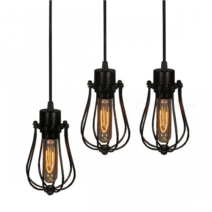 Buy Vintage Simple Black Metal Painted Pendant Lamp Indoor Wire Cord 1.2~1.5m Pendant Lights E27 110-240V Black with Litecoins with Free Shipping on Gipsybee.com