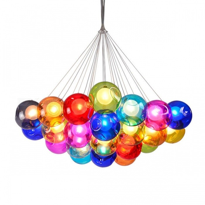 Buy Creative Modern Home Art Decoration Light Fixture Colorful Glass Ball Pendant Lights for Dining Room Restaurant Bedroom 3 balls with Litecoins with Free Shipping on Gipsybee.com