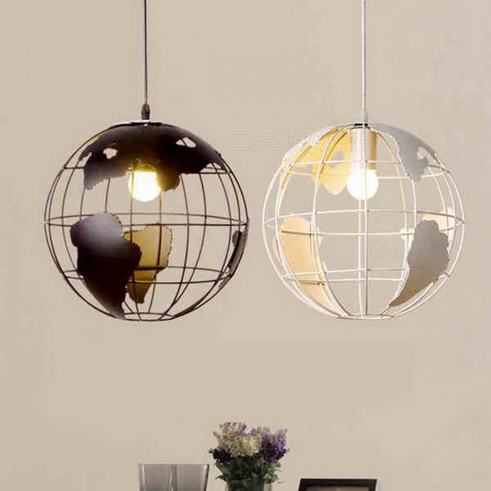 Buy Creative Globe Earth Iron Pendant Lamp Light Shade Decoration Light 220V E27 for Kitchen Dining Room Restaurant Diameter 28cm/White with Litecoins with Free Shipping on Gipsybee.com