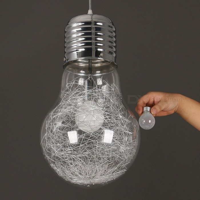 Creative Personality 300mm x 450mm Large  Vintage Style Pendant Lamp Light, Iron Glass Big Bulb Lamp for Bar Lighting clear silver/dia22cm