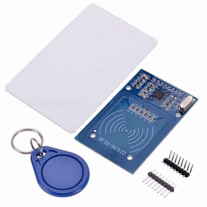 MFRC-522 RC-522 RC522 RFID Wireless IC Module S50 Fudan SPI Writer Reader Card Key Chain Sensor Kits 13.56Mhz for Arduino blueKits<br>Description<br><br><br><br><br>Type: Voltage Regulator<br><br><br>is_customized: Yes<br><br><br><br><br>Brand Name: diymore<br><br><br>Condition: New<br><br><br><br><br>Application: Other<br><br><br>Package: Other<br><br><br><br><br><br><br><br><br><br><br><br>?RC522 chip?<br><br><br>MF<br> RC522 is applied to the highly integrated read and write 13.56MHz <br>contactless communication card chip, launched by the company for the <br>table application of a low-voltage, low-cost, small size of the <br>non-contact card chip to read and write, smart meters and portable <br>handheld devices developed better choice. The MF RC522 use of advanced <br>modulation and demodulation concept completely integrated in all types <br>of 13.56MHz passive contactless communication methods and protocols. <br>14443A compatible transponder signals. The digital part of to handle the<br> ISO14443A frames and error detection. In addition, support rapid <br>CRYPTO1 encryption algorithm, terminology validation For products. <br>MFRC522 support For series of high-speed non-contact communication, <br>two-way data transmission rate up to 424kbit/s. As new members of the <br>13.56MHz reader card series of highly integrated chip family, MF RC522 <br>MF RC500 MF RC530 There are a lot of similarities, but also have many of<br> the characteristics and differences. Communication between it and the <br>host SPI mode helps to reduce the connection narrow PCB board volume, <br>reduce costs.<br><br><br>?RFID module?<br><br><br>The<br> MF522-AN module the the original MFRC522 chip design circuit card <br>reader, easy to use, low cost, and applies to the user equipment <br>development, the reader and the development of advanced applications, <br>the need for the user RF card terminal design/production. This module <br>can be directly loaded into the various reader molds. Utilize