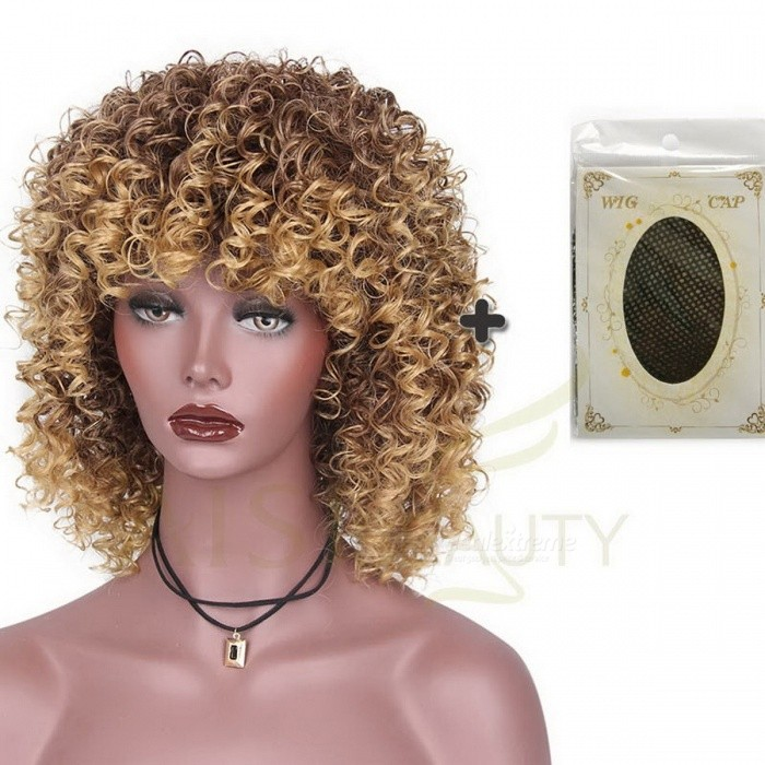 Fashion-High-Temperature-Fiber-Mixed-Brown-and-Blonde-Color-Synthetic-Short-Hair-Afro-Kinky-Curly-Wigs-for-Black-Women-22inchesWith-Wig-Cap