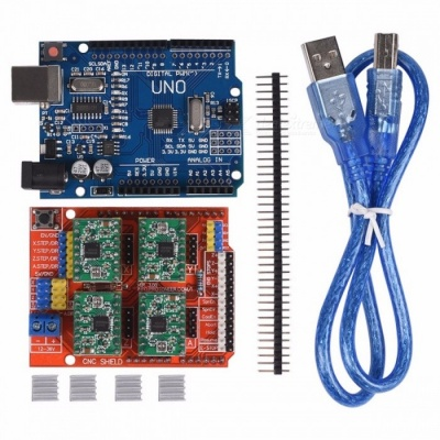 CNC Shield Expansion Board V3.0+UNO R3 Board with USB + 4PCS Stepper Motor Driver A4988 with Heatsink Kits for Arduino COLORFUL