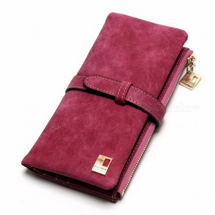 New-Fashion-High-End-Drawstring-Nubuck-PU-Leather-Zipper-Wallet-Long-Design-Two-Folding-Purse-for-Women-rose-red