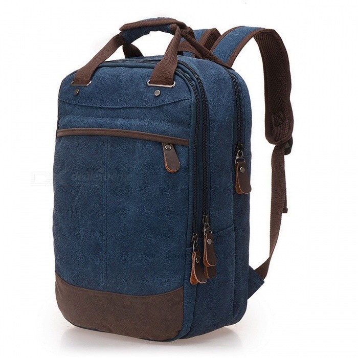 Buy Stylish Casual Canvas Backpack School Bag Computer Backpack Student Leisure Shoulder Bag for Men Boys blue with Litecoins with Free Shipping on Gipsybee.com