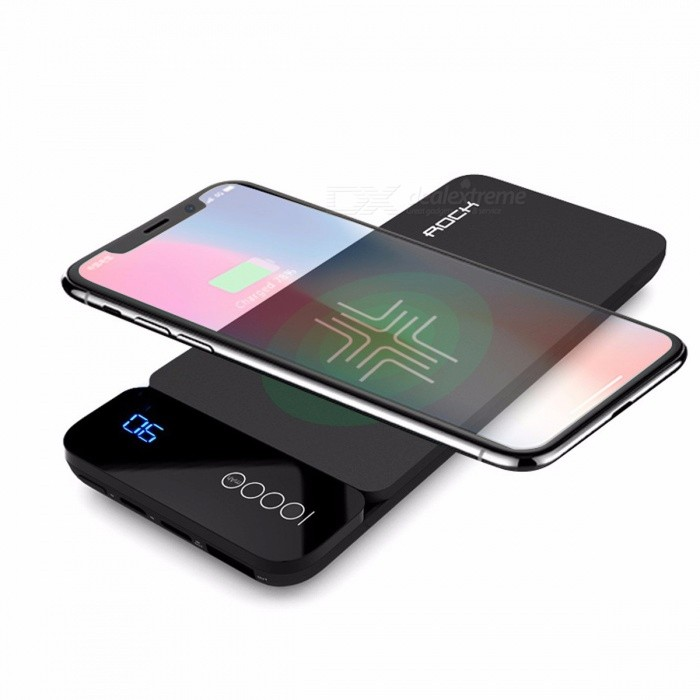 ROCK QI Wireless Charger 8000mAh Power Bank with Digital Display 5V 2A 5W External Battery Powerbank for IPHONE X Samsung Xiaomi GreyMobile Power<br>Description<br><br><br><br><br>Brand Name: Rock<br><br><br>Rock Model: RMP0309<br><br><br><br><br>Battery Capacity(mAh): 7001-9000mAh<br><br><br>Battery Type: Li-polymer Battery<br><br><br><br><br>Output Interface: Type C,Single USB<br><br><br>Input Interface: USB Type C,Micro USB<br><br><br><br><br>Output: 5V/2A<br><br><br>Quality Certification: FCC,EMC,RoHS<br><br><br><br><br>Supports Solar Energy: No<br><br><br>Is LED Lamp Illumination: No<br><br><br><br><br>Support Quick Charge Technology: One-way Quick Charge<br><br><br>Type: Emergency / Portable<br><br><br><br><br>Size: Other<br><br><br>Weight: Other<br><br><br><br><br><br><br><br><br><br><br><br>Brand : ROCK<br><br><br>Series : P38 wireless charger power bank<br><br><br>Material:Fireproof ABS+PC<br><br><br>Colors: grey/blue/red<br><br><br>Product style : External Battery Pack for Mobile phone<br><br><br>Voltage :Input: 5V Output: 5V<br><br><br>Input Interface : Micro USB &amp;nbsp;TYPE C&amp;nbsp;<br><br><br>Output Interface : &amp;nbsp;USB TYPE C<br><br><br>Micro USB input:DC5V/2A<br><br><br>TYPE C&amp;nbsp;input:DC5V/2A<br><br><br>TYPE C&amp;nbsp;Output:DC 5V 2A&amp;nbsp;<br><br><br>USBA Output:5V 2.4A&amp;nbsp;<br><br><br>Battery Capacity:3.7V &amp;nbsp;8000mah<br><br><br>Weight:190g<br><br><br>&amp;nbsp;<br><br><br>Packing list:<br><br><br>wiress charger&amp;nbsp;Power bank &amp;nbsp;*1(cable included)<br>
