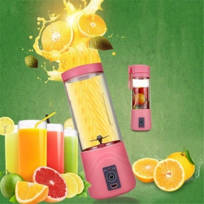 Portable Practical USB Electric Fruit Citrus Juicer Bottle Handheld Milkshake Smoothie Maker Rechargeable Juice Blender Pink