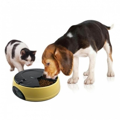 Ortilerri 6 Meals Smart Automatic Pet Feeder w/ LCD Display, Dog Cat Food Reminder Dispenser Timed Recorder Bowl M/Yellow