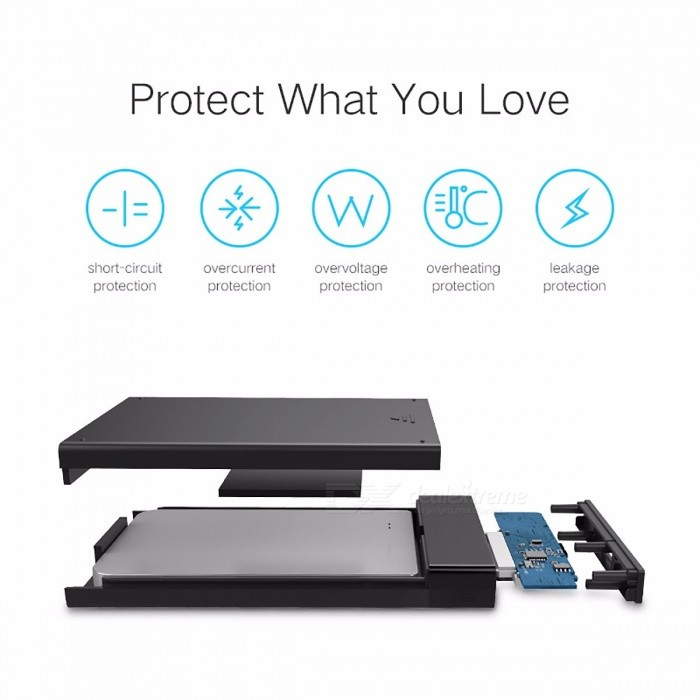 Ugreen SSD Hard Disk Drive Box External HDD Enclosure Case, 2.5 Inch SATA to USB 3.0 SSD Adapter for Samsung