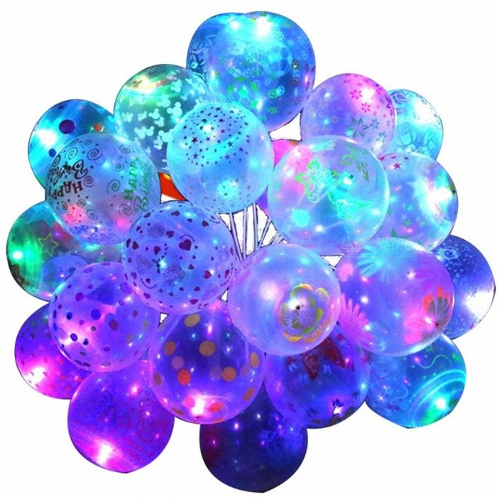 10Pcs 12inch Luminous LED Air Balloon String Lights, unique Patterns Helium Balloons Kids Toy for Wedding Party Decoration