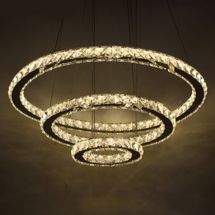 Chic Modern Minimalist American Style LED Crystal Chandelier Light, Hanging Ceiling Pendant Lamp for Living Room Warm White/2Ring 20cm 40cmChandelier<br>Description<br><br><br><br><br>Item Type: Chandeliers<br><br><br>Style: Modern<br><br><br><br><br>Shade Direction: Up &amp;amp; Down<br><br><br>Finish: Iron<br><br><br><br><br>Certification: CE,CCC<br><br><br>Voltage: 90-260V<br><br><br><br><br>Power Source: AC<br><br><br>Shade Type: Shadeless<br><br><br><br><br>Switch Type: Touch On/Off Switch<br><br><br>Body Material: Stainless Steel<br><br><br><br><br>Light Source: LED Bulbs<br><br><br>Base Type: Wedge<br><br><br><br><br>Is Dimmable: No<br><br><br>Is Bulbs Included: Yes<br><br><br><br><br>Brand Name: SUNMEIYI<br><br><br>Installation Type: Flush Mount<br><br><br><br><br><br><br><br><br><br><br><br>Light Frame Color:&amp;nbsp;Stainless steel<br><br><br>&amp;nbsp;<br><br><br>Color Temperature :&amp;nbsp;Warm White or Cold White&amp;nbsp;( for your option)<br><br><br>&amp;nbsp;<br><br><br>Material: Stainless steel, Crystal, Metal, LED bulbs<br><br><br>&amp;nbsp;<br><br><br>Available different sizes combination as below:<br><br><br>2 Rings Diameter&amp;nbsp;40cm +&amp;nbsp;20cm &amp;nbsp;(15.7+7.9 inch)&amp;nbsp;<br><br><br>2 Rings Diameter&amp;nbsp;50cm +&amp;nbsp;30cm &amp;nbsp;(19.6+11.8&amp;nbsp;inch)&amp;nbsp;<br><br><br>2 Rings Diameter&amp;nbsp;60cm +&amp;nbsp;40cm &amp;nbsp;(23.6+15.7&amp;nbsp;inch)&amp;nbsp;<br><br><br>3 Rings Diameter&amp;nbsp;60cm + 40cm +&amp;nbsp;20cm &amp;nbsp;(23.6&amp;nbsp;+15.7+7.9 inch)&amp;nbsp;<br><br>3 Rings Diameter&amp;nbsp;70cm + 50cm +&amp;nbsp;30cm &amp;nbsp;(27.5&amp;nbsp;+19.6+11.8&amp;nbsp;inch)<br>