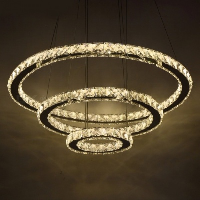 Chic Modern Minimalist American Style LED Crystal Chandelier Light, Hanging Ceiling Pendant Lamp for Living Room Cool White/3Ring 30cm 50cm 70cm