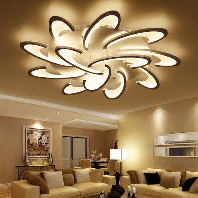 LICAN Modern LED Ceiling Chandelier Light White Black AC85-265V Chandeliers Fixtures For Living Room Bedroom Dining Study Room Cool White/12 heads White body