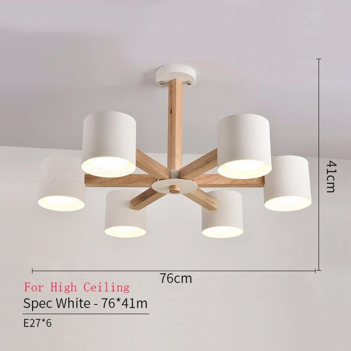 BOTIMI Wooden Lustre Iron Lampshade Nordic Chandelier Lamp with E27 Bulb for Living Room Suspendsion Lighting Fixtures