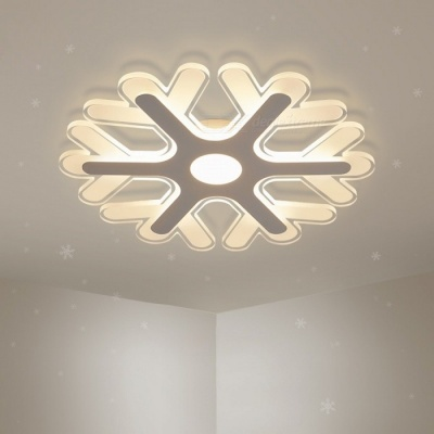 Ultra-thin Acrylic Snowflake Shape LED Chandelier Light, Modern LED Ceiling Pendent Lamp for Study Room, Kids Bedroom D20cm 8W/RC Dimmable/White