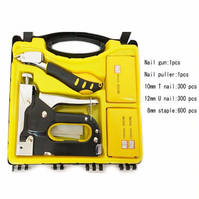 JSHAWNIK Portable Manual Nail Staple Gun Furniture Stapler with 1200 Nails for Wood Door Upholstery Framing Plastic BoxOther Tools<br>Description<br><br><br><br><br>Type: Hand Tools,Other<br><br><br>DIY Supplies: Woodworking<br><br><br><br><br>Package: Case<br><br><br>Application: Wood Working Tool<br><br><br><br><br>Brand Name: JSHAWNIK<br><br><br><br><br><br><br><br><br><br><br><br><br>Description: <br><br><br>NO1:900 nails,&amp;nbsp;double blister card (300 T nails,300 U nails,300 staples)<br><br><br>NO2:1200 nails, plastic box(300 T nails,300 U nails,600 staples) <br><br><br>&amp;nbsp;<br><br><br>&amp;nbsp;<br><br><br>Three the use of manual nail gun nails instructions<br><br><br>1, <br>1004J-1006J-1008J-1010J-1012J-1014J the square nail behind the two note <br>number represents the length of the needle, behind the English letters <br>on behalf of the nail type, recommend the use of 1008J-1010J and below <br>the nail (with electric and most of the nailer nail is universal, just <br>use the cornet, nails look more difficult to play, above the adjusting <br>screw to fine tune, large scale not swapped in and out before they are <br>transferred to the best position).<br><br><br>2, straight nail (also known as type T nail) model for the F10T (length of 10mm)<br><br><br>3, U type nail model is 612&amp;nbsp;<br><br><br><br><br><br>Works in Softwood and Hardwood <br><br><br>Works With Any Backing Material <br><br><br>Light Weight Design for Comfor <br><br><br>Features:staple gun <br><br><br>accepted 4-14mm leg length standard staples (Doornail,U and Straight Nail) <br><br><br>With1200pcs nails free of charge <br><br><br>No need for electricity or air<br>