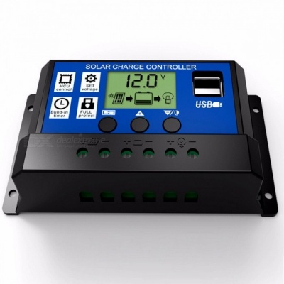 12V 24V Intelligence Solar Cell Panel Battery Charge Controller Regulator with 5V Dual USB Port, LCD Display 10A