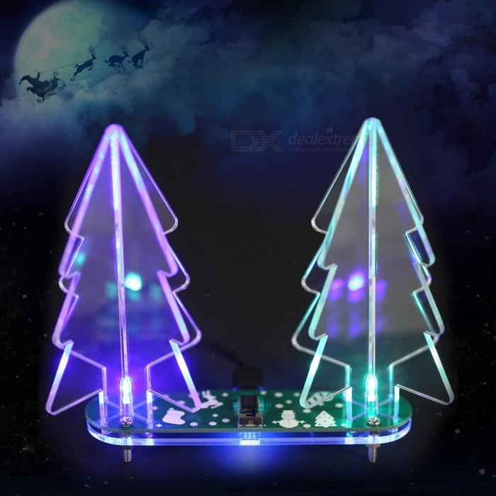 Portable DIY Acrylic 3D Christmas Tree Kit, Full Color Changing LED Light Electronic Learning Kit Module Green TransparentDIY Parts &amp; Components<br>Description<br><br><br><br><br>Brand Name: KKMOON<br><br><br>DIY Supplies: Electrical<br><br><br><br><br><br><br><br><br><br><br>This acrylic Christmas tree is a cool DIY project for the holiday <br>decoration. Its a very simple making kit and also has a variety of LED <br>color gradient modes. It has two Christmas trees above and each <br>Christmas tree is combined by two tree shape acrylic, so that you can <br>see the Christmas Tree in any angle. The bottom is built by the long <br>oval shape PCB and acrylic, and each part is added a 5mm full color LED <br>refraction effect. A variety of gradients color changing is all control <br>by the main chip that create a colorful Christmas tree making kit. In <br>order to conform the Christmas holiday theme, the PCB add some different<br> &amp;amp; funny Christmas patterns to increase the festival spirit.<br><br>Features:<br>Seven kinds of colorful changing effect.<br>LED colorful highlighted display.&amp;nbsp;<br>Combination of 3mm thick tree like acrylic and two 3D Christmas trees.<br>With some funny Christmas patternson the PCB.<br>All using DIP components to solder, easy to make and suitable for beginners.<br>5V double power supply option: micro USB cable or wire connection.<br><br>Function:<br>1. Use micro USB cable or power wire to supply 5V power.<br>2. Toggle the switch button to switch the next changing effect.&amp;nbsp;<br><br>Installation Method: You will get a bulk DIY kit, all components need to be soldered by <br>yourself. The shell is acrylic material, fixed with screws. Provide with<br> installation instructions.<br><br>Specifications:<br>Material: Acrylic&amp;nbsp;<br>PCB Color Options: Red / Green (Optional)&amp;nbsp;<br>Christmas Tree Acrylic Type Options: Transparent Acrylic / Satinized Acrylic (Optional)&amp;nbsp;<br>Power Supply: 5V USB or Wire Connecti