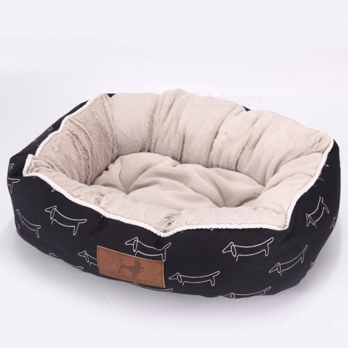 COOBY-Stylish-Warm-Comfotable-Pet-Bed-Cat-Dog-House-Pet-Soft-for-Puppies-Small-Dog-Large-Dog-Cat-Bed-Mat-L-65x55x18cmBlack