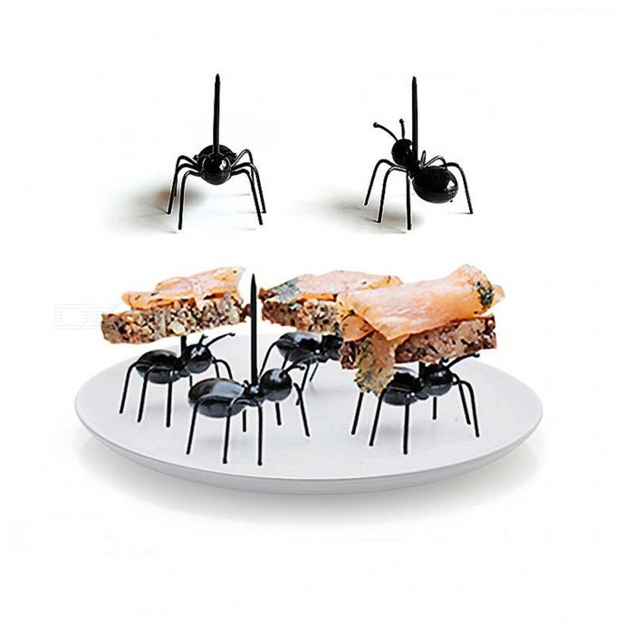 Buy FHEAL 12pcs/set Cute Mini Ant Fruit Fork Eco Friendly Plastic Easy Decoration Kitchen Bar Kids Dessert Forks Tableware  Black with Litecoins with Free Shipping on Gipsybee.com