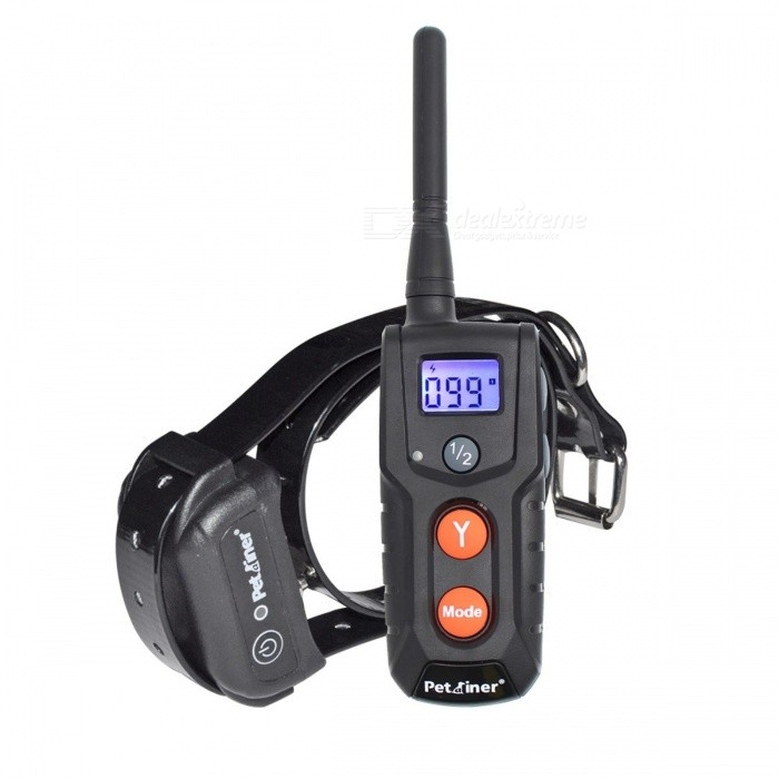 Petrainer 916-1 Electronic Dog Collar 300 Meters Remote Dog Training Shock Collar for Starting Amateur Trainer USTraining Aids<br>Description<br><br><br><br><br>Type: Dogs<br><br><br>Item Type: Training Collars<br><br><br><br><br>Brand Name: Petrainer<br><br><br>Material: Plastic<br><br><br><br><br><br><br><br><br>Range: 300 meters <br><br><br>Color: Black <br><br><br>Training Mode: Shock, Vibration, Beep <br><br><br>Training Level: 100 Levels for Shock and Vibration <br><br><br>Rechargeable: Rechargeable <br><br><br>Waterproof: Waterproof <br><br><br>Type: Remote Dog Training Collar <br><br><br>Screen: Blue Backlit LCD screen <br><br><br> Petrainer<br> PET916 has a professional look and is rechargeable, waterproof while <br>delivering professional performance for a starting amateur trainer. <br>Its&amp;nbsp;the perfect&amp;nbsp;introductory system for someone new to e-collars&amp;nbsp;who <br>desire to perfect obedience around the house, yard or walks in the park.<br> Our range of 330 yards will easily cover any household&amp;nbsp;misbehavior&amp;nbsp;and <br>backyard problems. It features 4 modes: static shock, vibration, beep <br>and light. Dont forget, the remote transmitter is also waterproof to <br>ensure it can handle any type of wet conditions. Lastly, you can always <br>add another collar to the remote transmitter as it can control up to two<br> dogs.<br>