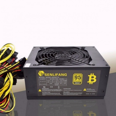 Asic Bitcoin Gold Power 2000W PLUS BTC Power Supply ATX Mining Machine High Quality Supports 8 GPU Cards black