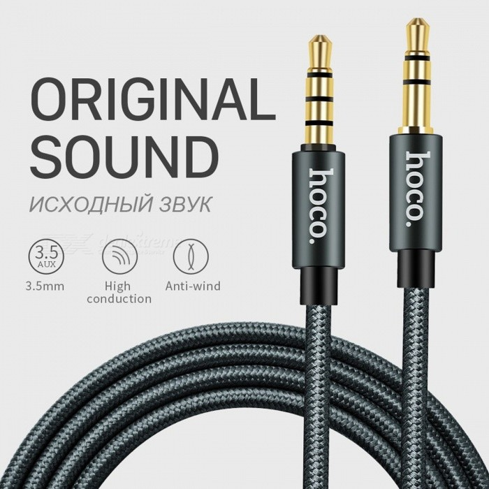 HOCO 3.5mm Jack Male to Male Audio Cable Aux Cable with Microphone for Car IPHONE MP3 / MP4 Headphone Speaker 1m without Microphone/Dark SilverCables<br>Description<br><br><br><br><br>Application: Speaker,Projector,DVD Player,Multimedia,Television,For iPod,TV BOX,MP3 / MP4 Player,Computer,Amplifier<br><br><br>Connector B: Jack<br><br><br><br><br>Gender: Male-Male<br><br><br>Type: AUX Cables<br><br><br><br><br>Packing: Carton Box<br><br><br>Connector A: Jack<br><br><br><br><br>Package: Yes<br><br><br>Brand Name: HOCO<br><br><br><br><br>Bundle: Bundle 1<br><br><br>Feature: None<br><br><br><br><br><br><br><br><br><br><br><br><br>1. Length: 1m <br><br><br>2. Weight: 10g <br><br><br>3. Outer cladding: TPE+Nylon braided <br><br><br>4. Wire core number: 42 <br><br><br>5. Jack: Anodized aluminum alloy <br><br><br>&amp;nbsp;<br><br><br>Attention, we sell two cable versions. With a microphone and without a microphone. <br><br><br>Please choose carefully. <br><br><br><br>1m with microphone: with&amp;nbsp;line control (single functional key to operate music playing and answer calls).<br>
