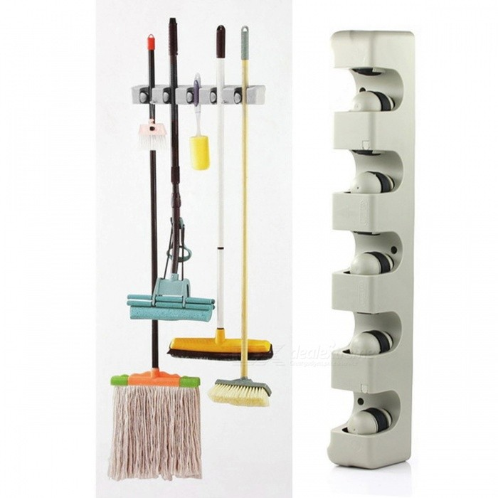 Kitchen-Tool-5-Position-Mop-Broom-Holder-Organizer-Wall-Mounted-Hanger-5-Position-Bathroom-Mop-Broom-Holder-Organizing-Tool-Silver