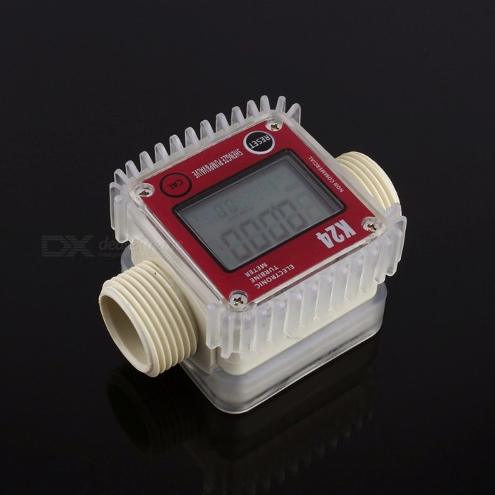 K24 Portable Digital LCD Turbine Diesel Fuel Flow Meter for Chemicals Water Sea, Adjustable Liquid Flow Meter red