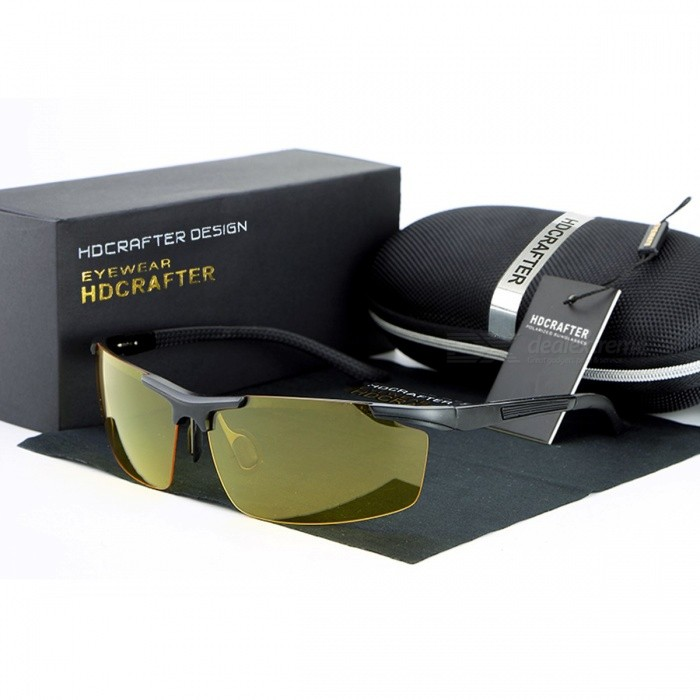 Mens Sunglasses Night Glasses Professional Glasses Driving Sun Glasses High Quality Cool and Fashionable yellow blackSunglasses<br>Description<br><br><br><br><br>Eyewear Type: Sunglasses<br><br><br>Item Type: Eyewear<br><br><br><br><br>Department Name: Adult<br><br><br>Frame Material: Alloy<br><br><br><br><br>Lenses Material: Polycarbonate<br><br><br>Gender: Men<br><br><br><br><br>Style: Pilot<br><br><br>Brand Name: HDCRAFTER<br><br><br><br><br>Lenses Optical Attribute: Polarized,UV400<br>